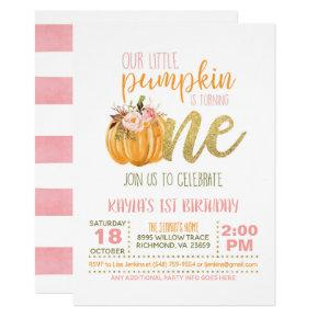 Pumpkin First Birthday Invitation - Girl