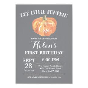 Pumpkin First Birthday Invitations Gray