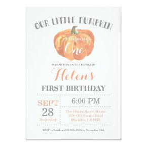 Pumpkin First Birthday Invitations Orange and Gary