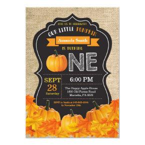 Pumpkin First Birthday Invitations Orange Burlap