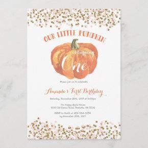 Pumpkin First Birthday Invitation Pink and Gold