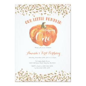 Pumpkin First Birthday Invitations Pink and Gold