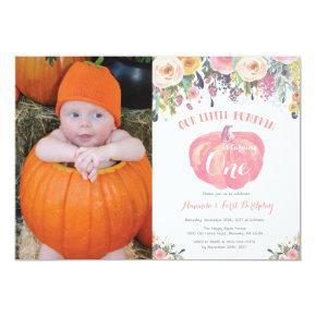 Pumpkin First Birthday Invitations Pink Floral