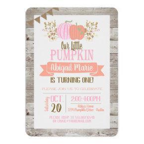 Pumpkin First Birthday Little Girl Invitation