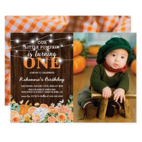 Pumpkin First Birthday | Rustic Fall Photo Invitation