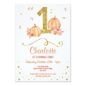 Pumpkin First One Birthday Fall Party Invite