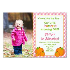 Pumpkin Girl Birthday Invitation Photo Invitations