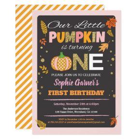 Pumpkin girl first birthday party chalkboard invitation