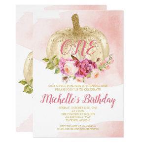 Pumpkin Girl Pink Gold First Birthday Watercolor Invitation