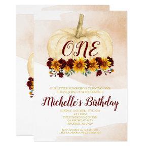 Pumpkin Girl Sunflower Gold First Birthday Invitation