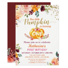Pumpkin Kids Birthday Party Fall Burgundy Floral Invitations