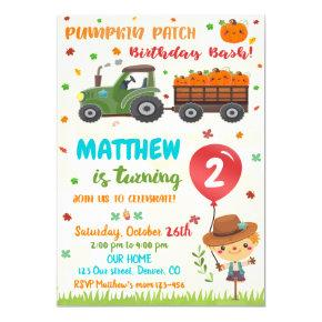 Pumpkin patch birthday invitation Fall birthday