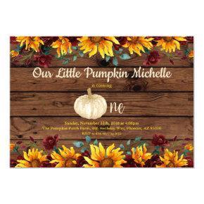 Pumpkin Rustic First Sunflower Burgundy Birthday Invitation