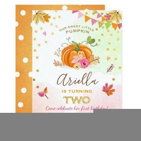 Pumpkin Second Birthday Invitations Autumn Fall