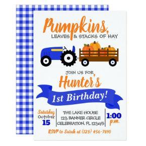 Pumpkin Truck Birthday Invitation - Blue Tractor