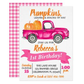 Pumpkin Truck Birthday Invitation - Pink Truck