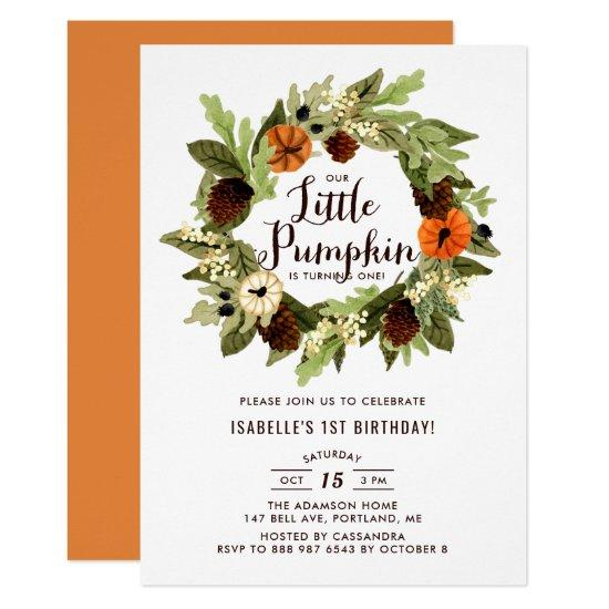 Pumpkins and Pinecones Wreath First Birthday Invitation