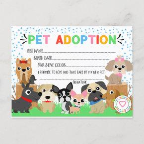 Puppy Adoption Certificate for a Pet Adoption Invitation Post