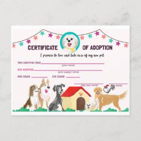 Puppy Adoption Certificate for a Pet Invitation Post
