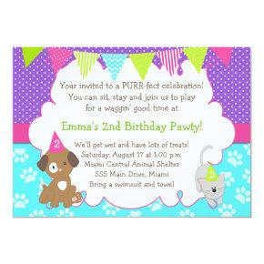 Puppy and Kitten Invitations Girl Birthday Party