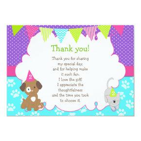 Puppy and Kitten Thank You Card Purple Green