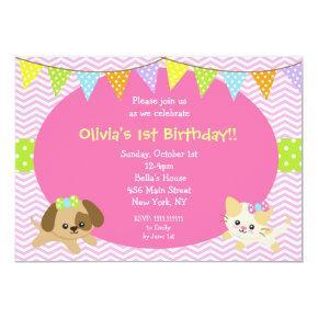 Puppy and Kitty Cat Dog Birthday Invitations
