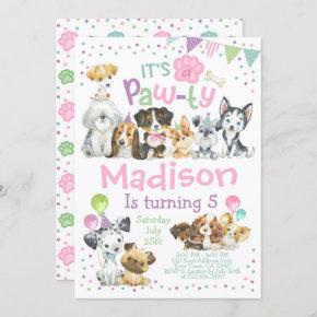 Puppy Birthday Invitation, Dog Birthday Party Invitation