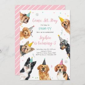 Puppy Birthday Invitation Dog Party Pawty Girl