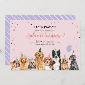 Puppy Birthday Invitation Dog Party Pawty Pink