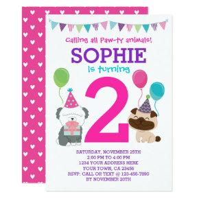 Puppy Birthday Invitation for girls