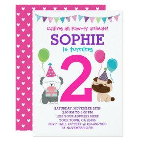 Puppy Birthday Invitations for girls