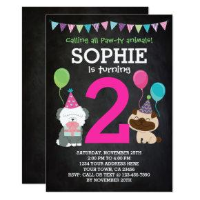 Puppy Birthday Invitations for girls, chalkboard