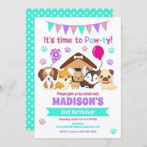Puppy Birthday Invitation / Girl Paw-ty