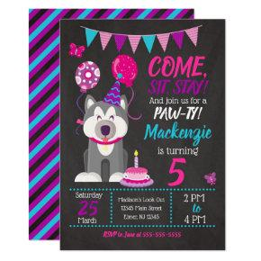 Puppy Birthday Invitation Girl Paw-ty Husky