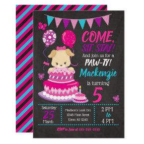 Puppy Birthday Invitation Girl Paw-ty Party