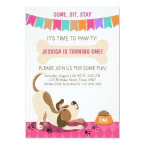 Puppy Birthday Invitations Paw-ty Puppy Party