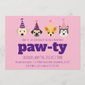 Puppy Birthday Party Invitation, Girls Dog Invite