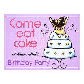 Puppy Birthday Party Pug Cake Girl Off-Leash Art™ Invitations