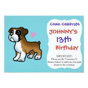 Puppy boxer heart cartoon invitation