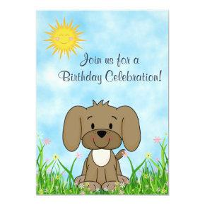 Puppy Dog and Flowers Birthday Invitations