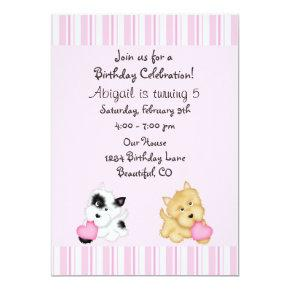 Puppy Dog and Hearts Birthday Invitation for Girls