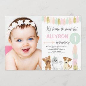 Puppy Dog birthday, Animal lovers Cute girl photo Invitation