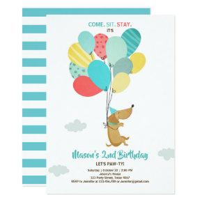 Puppy dog Birthday invitation Balloons Boy Blue