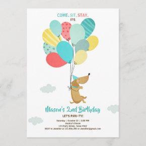 Puppy dog Birthday invitation Balloons Boy Blue