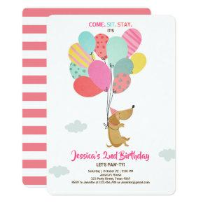 Puppy dog Birthday invitation Balloons Girl pink