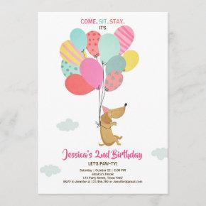 Puppy dog Birthday invitation Balloons Girl pink