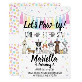 Puppy Dog Girl Birthday Pawty Invitation