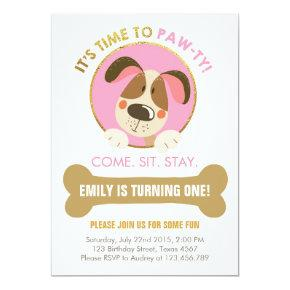 Puppy dog Invitations pink and Gold Paw-ty