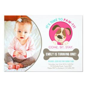 Puppy dog Invitations pink turquoise chevron