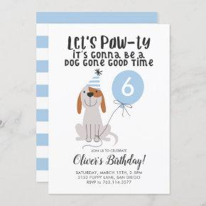 Puppy Dog Lets Pawty Birthday Party Boy Invitation